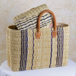 Wicker basket with short leather handles