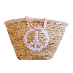 Palm basket with leather handles, : white glitter peace