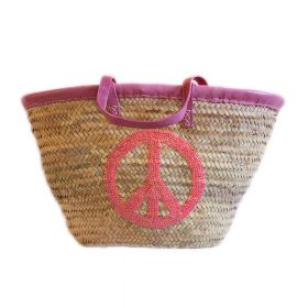 Palm basket with leather handles, : Pink glitter peace