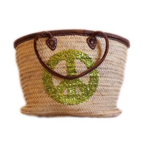 Palm basket with leather handles, : pistachio glitter peace