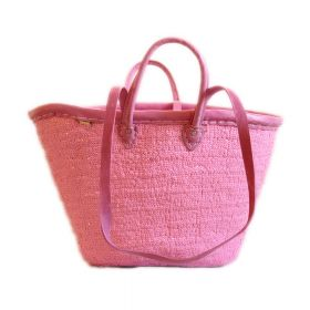 Palm basket with pink leather handles ; pink leather border; pink sequins