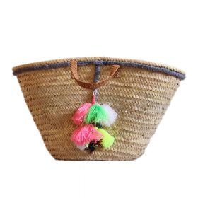 Palm basket with braided leather handle