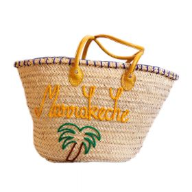 Palm basket, embroidered Marrakech