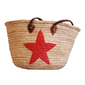 Palm basket with leather handles, : red glitter Star
