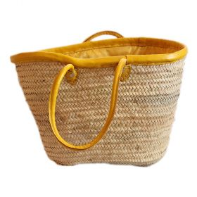 Palm basket with yellow leather handles