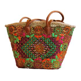 TAZA.TAHNAWT, Palm basket with long leather handles