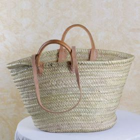 Palm basket with long and short leather handles