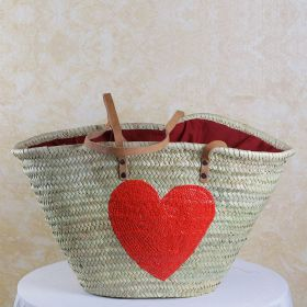 Palm basket with leather handles, : red glitter heart