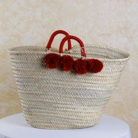 Palm basket with woven handles