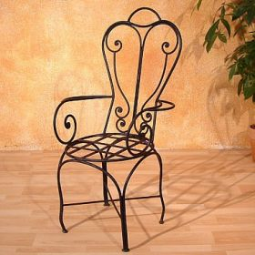 Iron chair with armrest